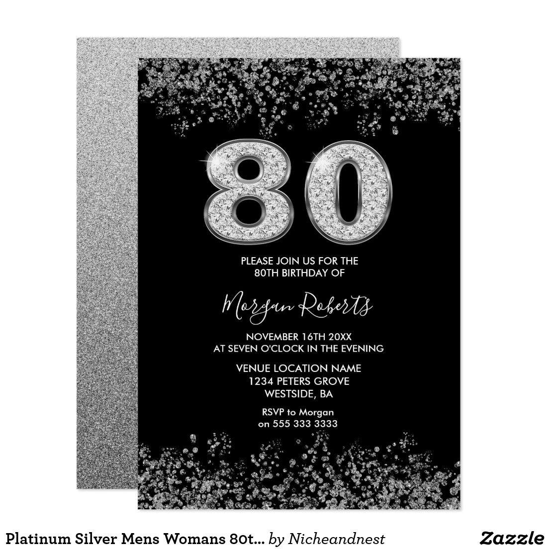 Platinum Silver Mens Womans 80th Birthday Party Invitation