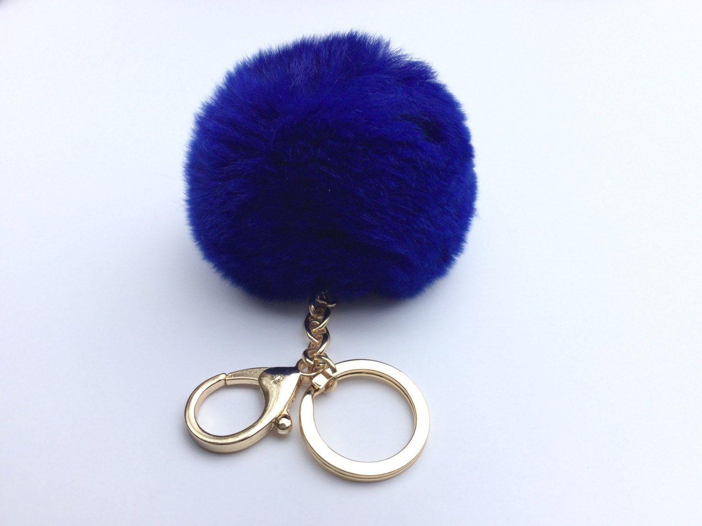 3dc0a8fb5fd8 Cobalt Blue Fur pom pom keyring keychain fur puff ball bag pendant charm by  YogaStudio55 on Etsy