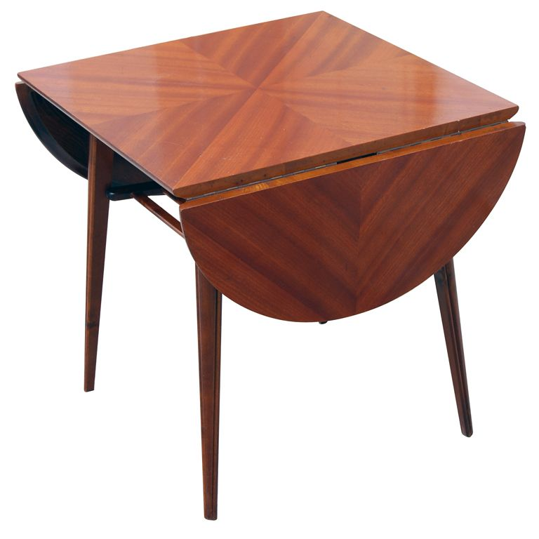 Amazing MId Century Modern Drop Leaf End/Side Table In Ribbon Mahogany