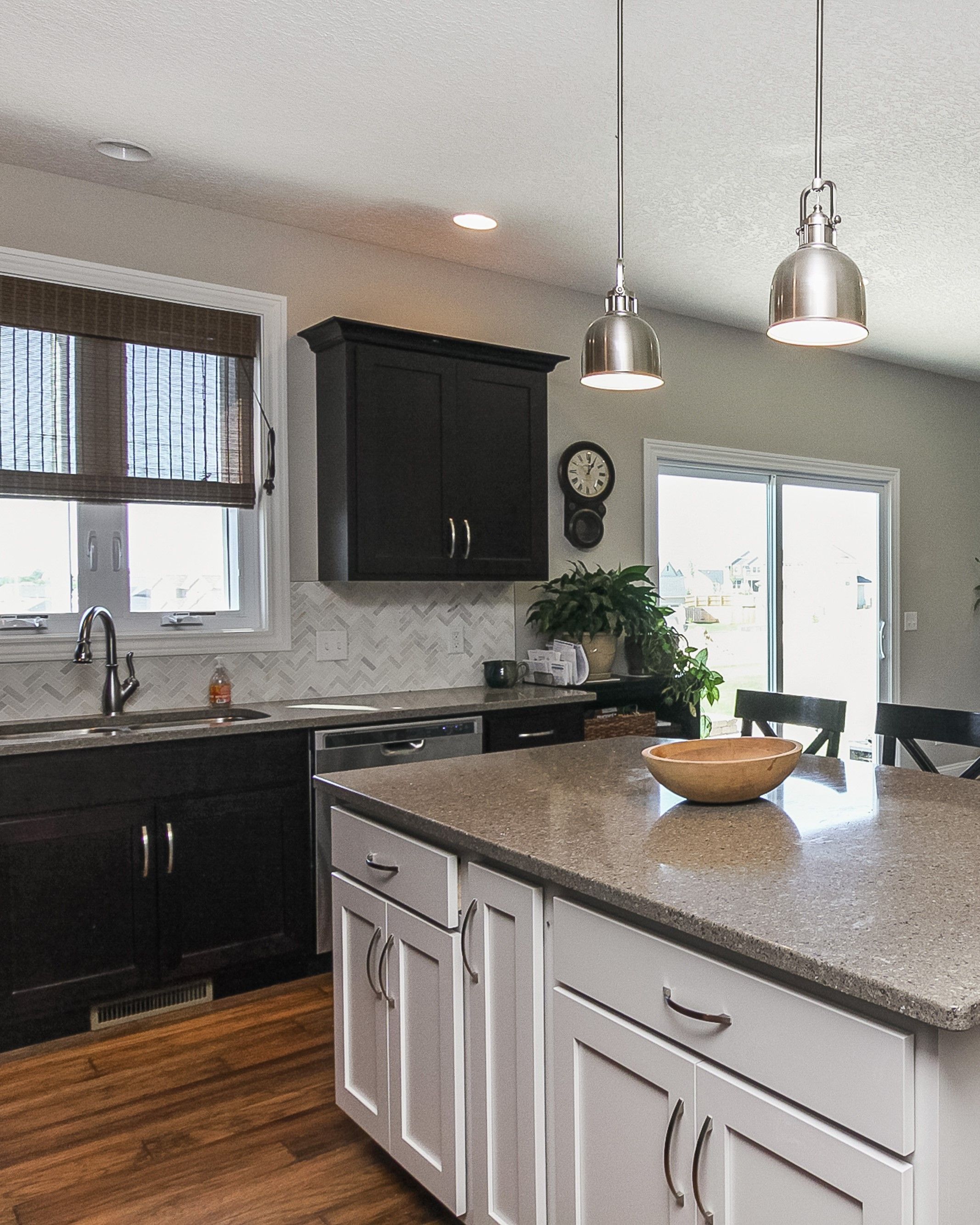 a dark java finish on the perimeter kitchen cabinetry and a painted white island we work on kitchen cabinets java id=32235