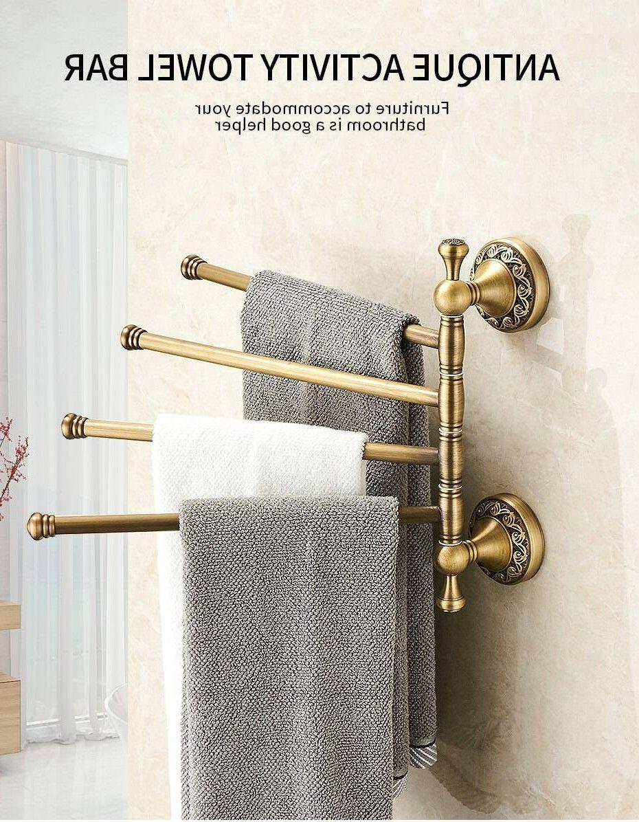 Towel Racks 3 4 Tiers Bars Antique Brass Towel Holder Bath Rack Active Rails Pants Hanger Bat In 2020