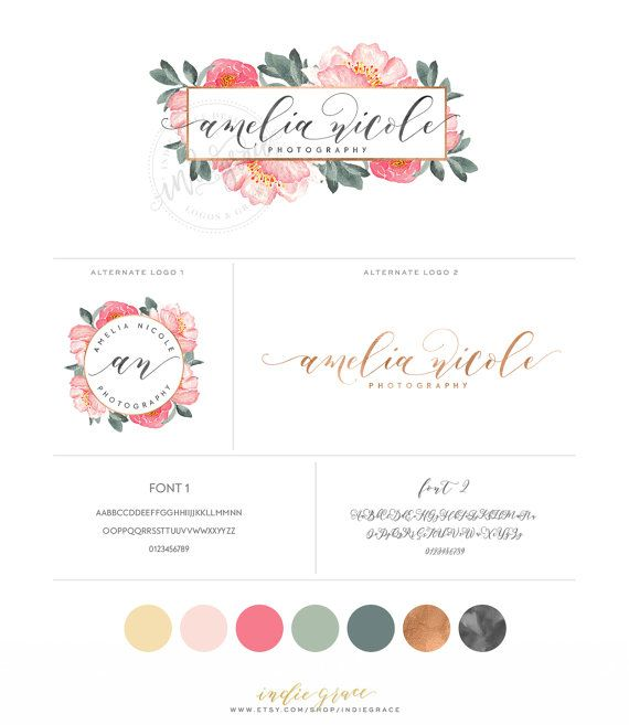 ce113a195b9f3 Watercolor Floral Logo design and Sublogo - Calligraphy Logo - Peony ...