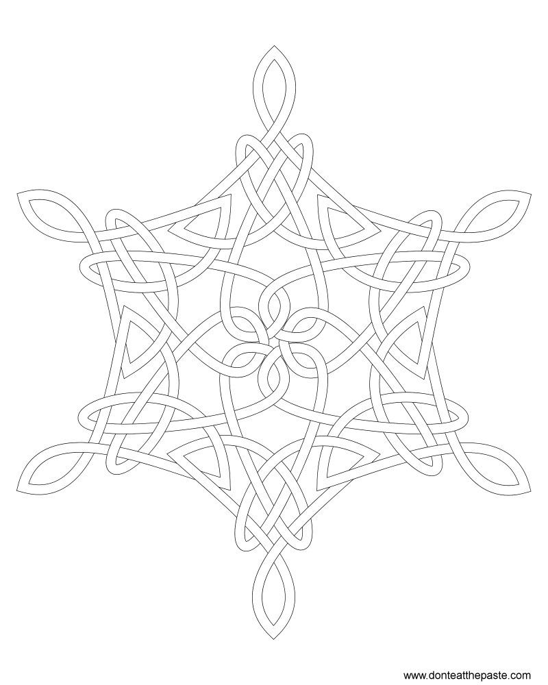 Snowflake Knot Coloring Page | Tag templates, Snow flakes and Template