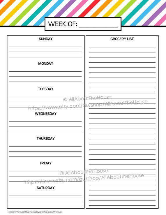 Weekly Meal Planner Printable Rainbow Stripe Menu Planner Pdf