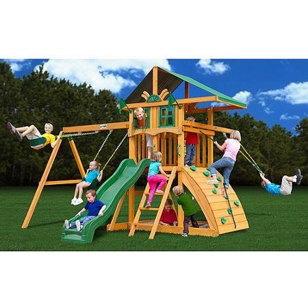 Gorilla Playsets Encore Cedar Wooden Swing Set Walmart Com Play