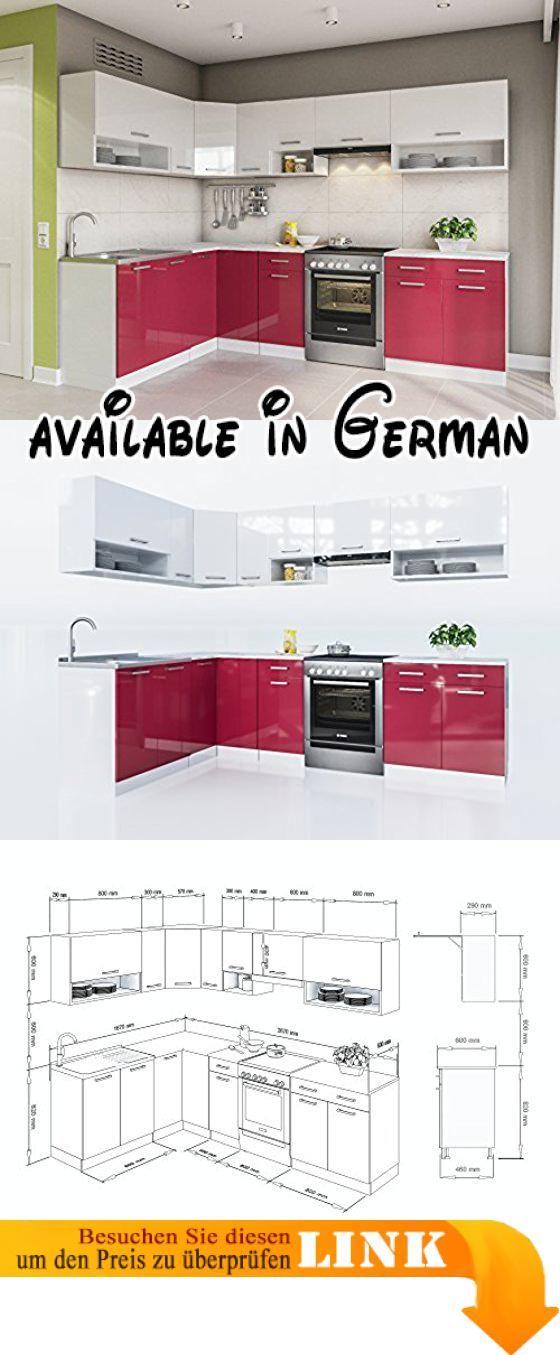 B077G8FJMX  ELDORADO-MÖBEL KÜCHE LUX 270 CM ROT L-FORM - küchenblock 270 cm