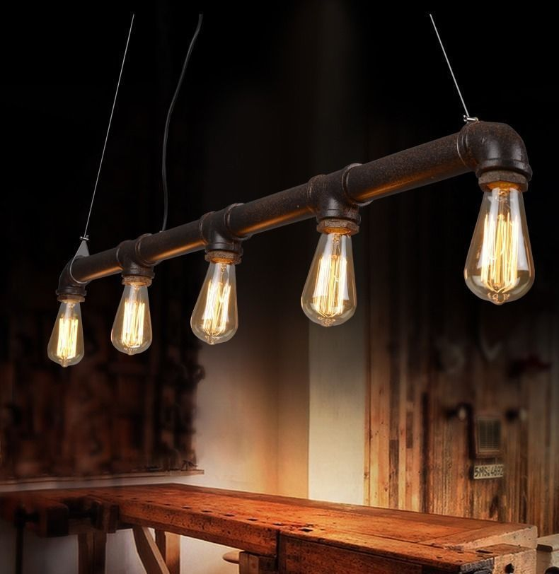 details zu industrie retro kronleuchter deckenlampen vintage loft pipe edison lampe leuchte. Black Bedroom Furniture Sets. Home Design Ideas