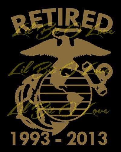 Retired marine with custom dates vinyl decal sticker car truck window lilbitolove housewares on artfire