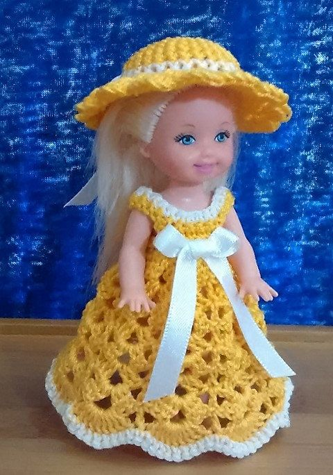 "Handmade Thread Crochet Kelly Doll Barbie Family Dress for 4.5"" Kelly or similar…"