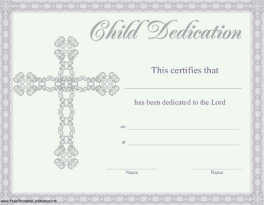 Baby Dedication Certificate Template  Church Nursery