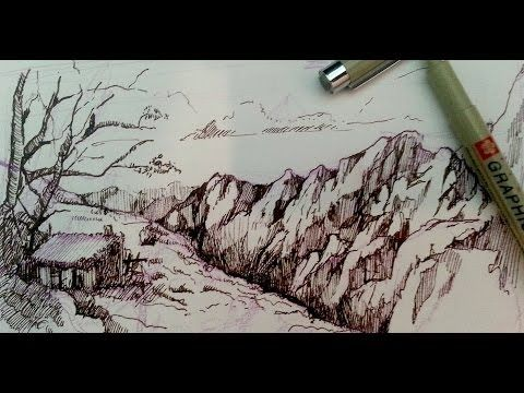 Pen and Ink Drawing Tutorials | How to draw a mountain landscape❤️