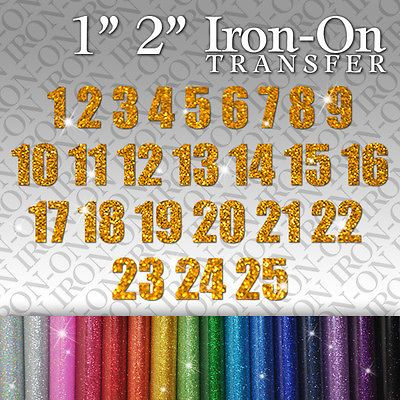 "Christmas Advent Calendar Numbers 1 to 25 Iron-On Fabric Glitter Sticker 1/"" 2/"""