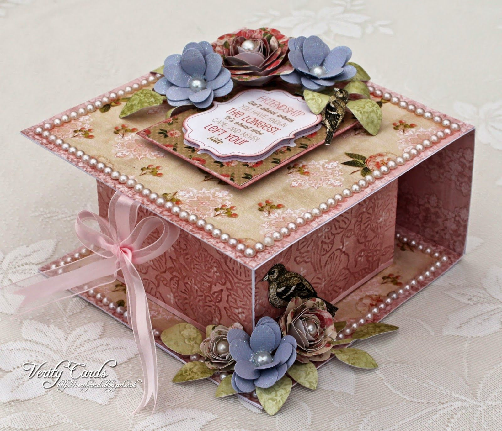 Verity cards sneaky peek at vintage florals flip over box crafts