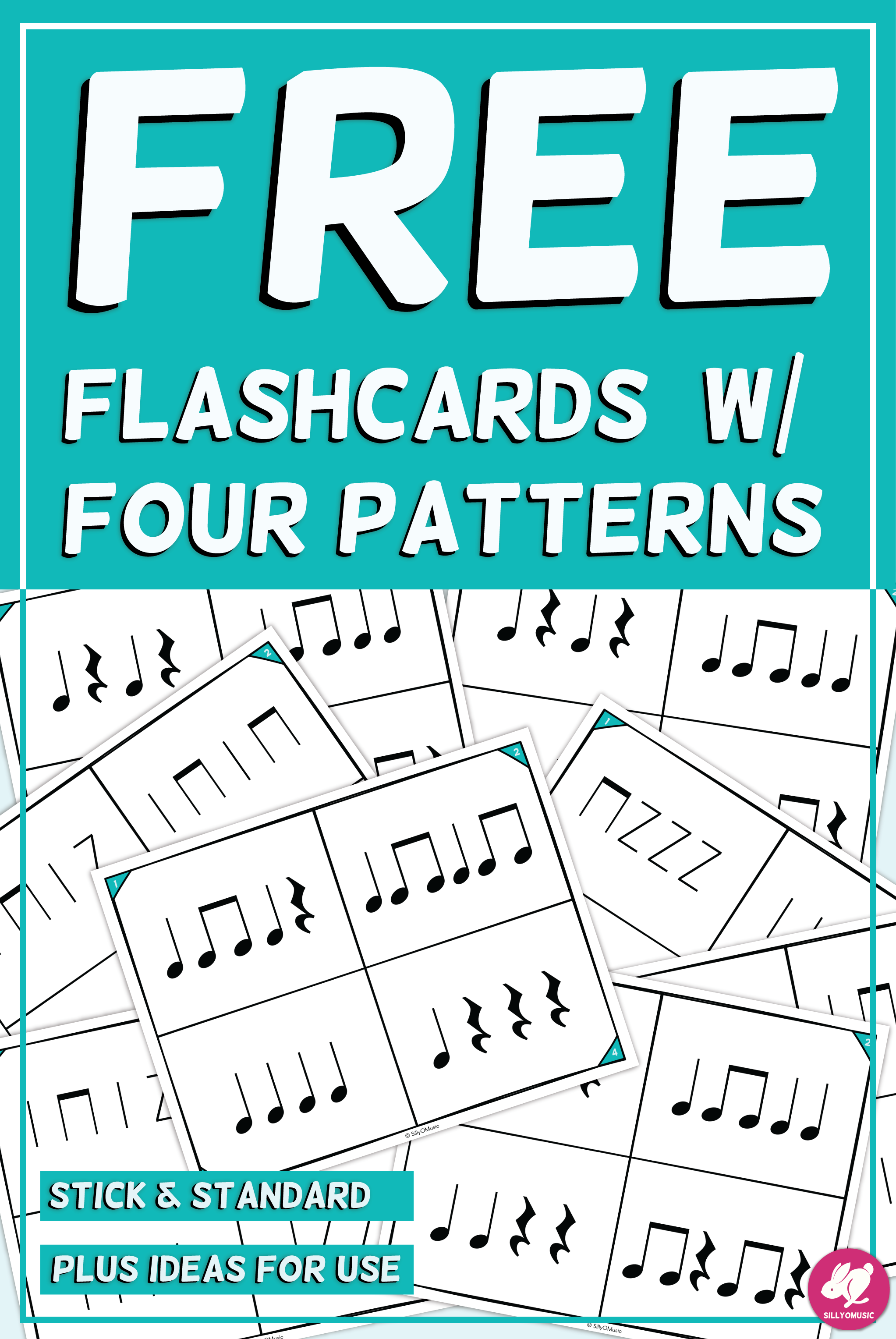 Quarter Note Amp Rest Amp 8th Notes Flashcards With 4 Corners
