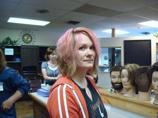 Its not pretty, but its me in hair school! Lol