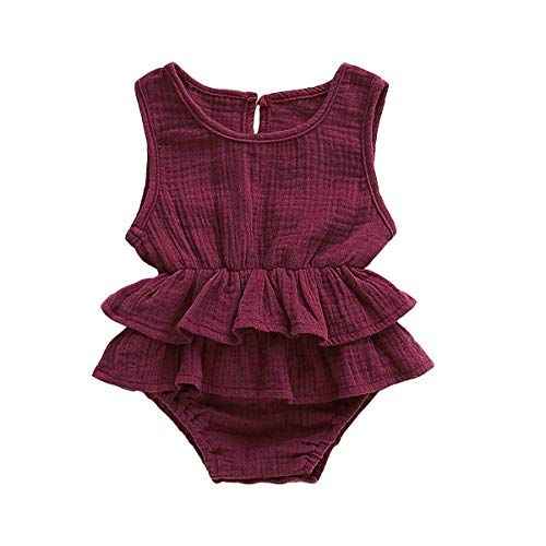 7a91bcef512da Yoveme Newborn Baby Girl Ruffle Romper Bodysuits Cotton Flutter Sleeve One-Piece  Romper Outfits Clothes