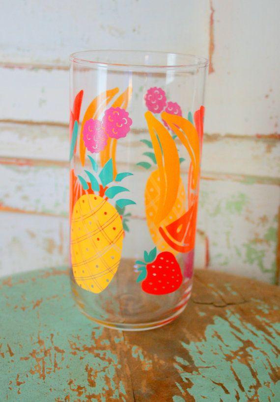 Vintage FRUIT GLASS....kitsch. retro. drink. by retroandme on Etsy, $6.00