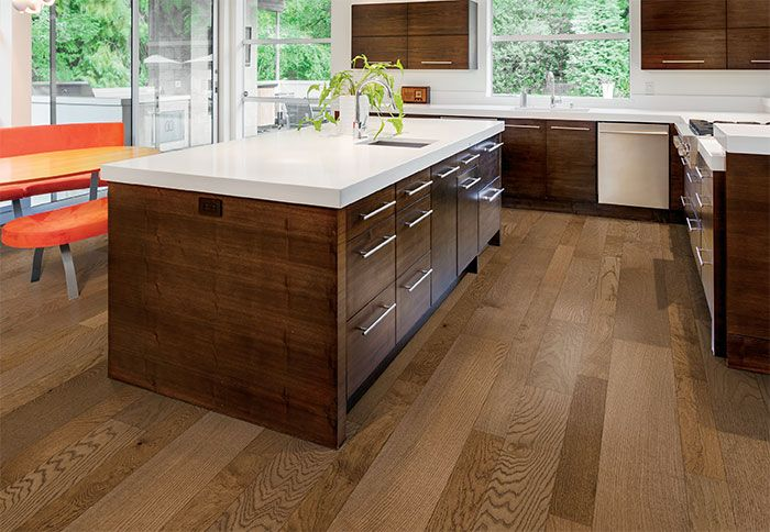 Multi Tone Engineered Wood Flooring In A Kitchen Podlahy