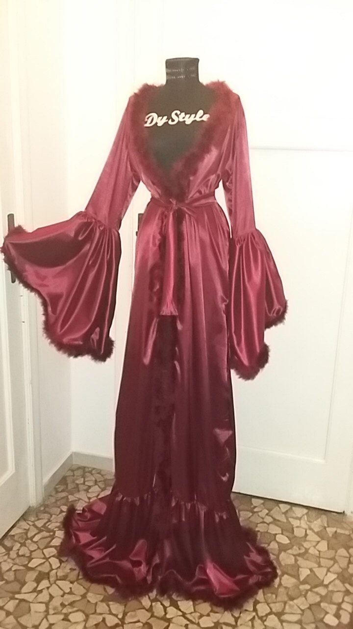 8b35c6768 Burgundy Dressing Gown, Satin Sexy Wine Lingerie Robe, Marabou Feather Gown,  Bride Dressing Gown, Burlesque Dressing Gown