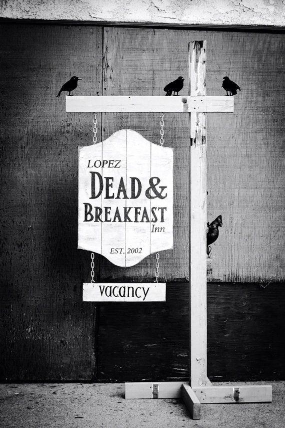 Dead  Breakfast - Halloween Sign - Custom Hanging Decoration - Prop