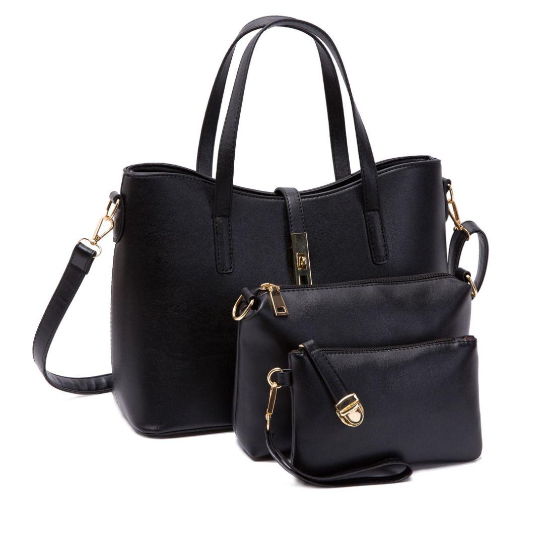 Sleek Buckle Handbag Set in Black (3pc-set), 23% discount @ PatPat Mom Baby Shopping App
