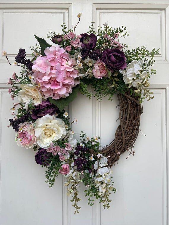 Photo of Pink HydrangeaWreath, Cream Ranunculus Wreath, Vintage Wreath, Green fern Wreath, Spring Wreath, Sum