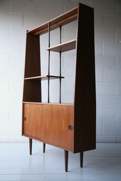 1960s teak room divider mid century modern display cabinet for Divider cabinet living room