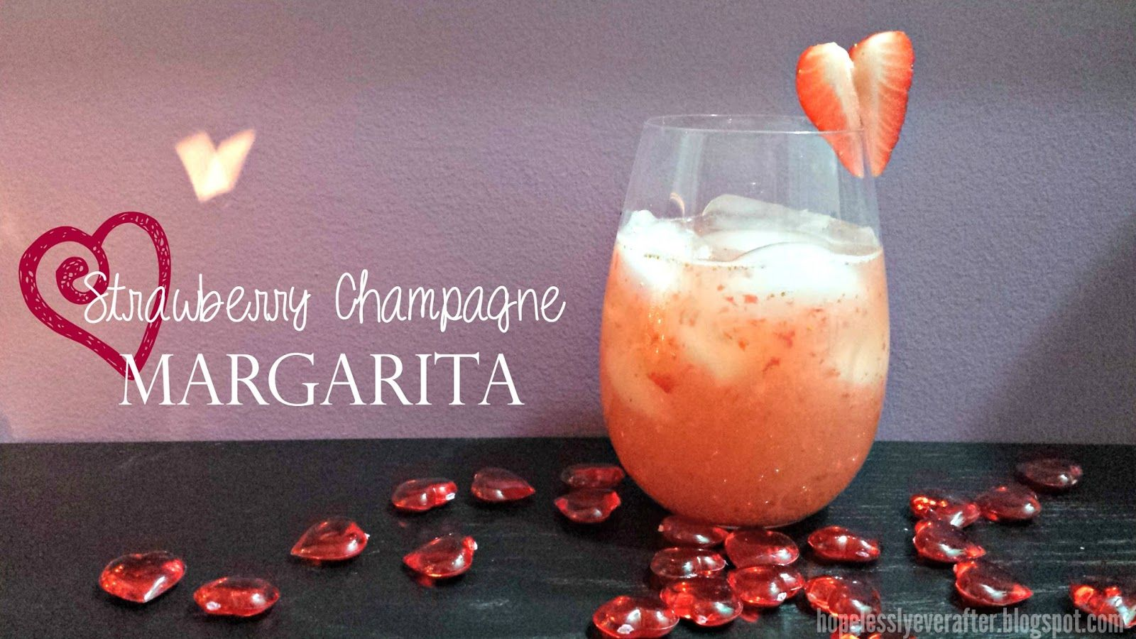 Strawberry Champagne Margarita - sweet and delicious and perfect for a romantic Valentine's Day dinner with your other half. Super easy to make, and so refreshing!
