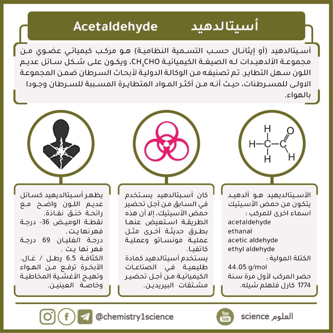 أسيتالديهايد Acetaldehyde Chemistry Aoii Jul