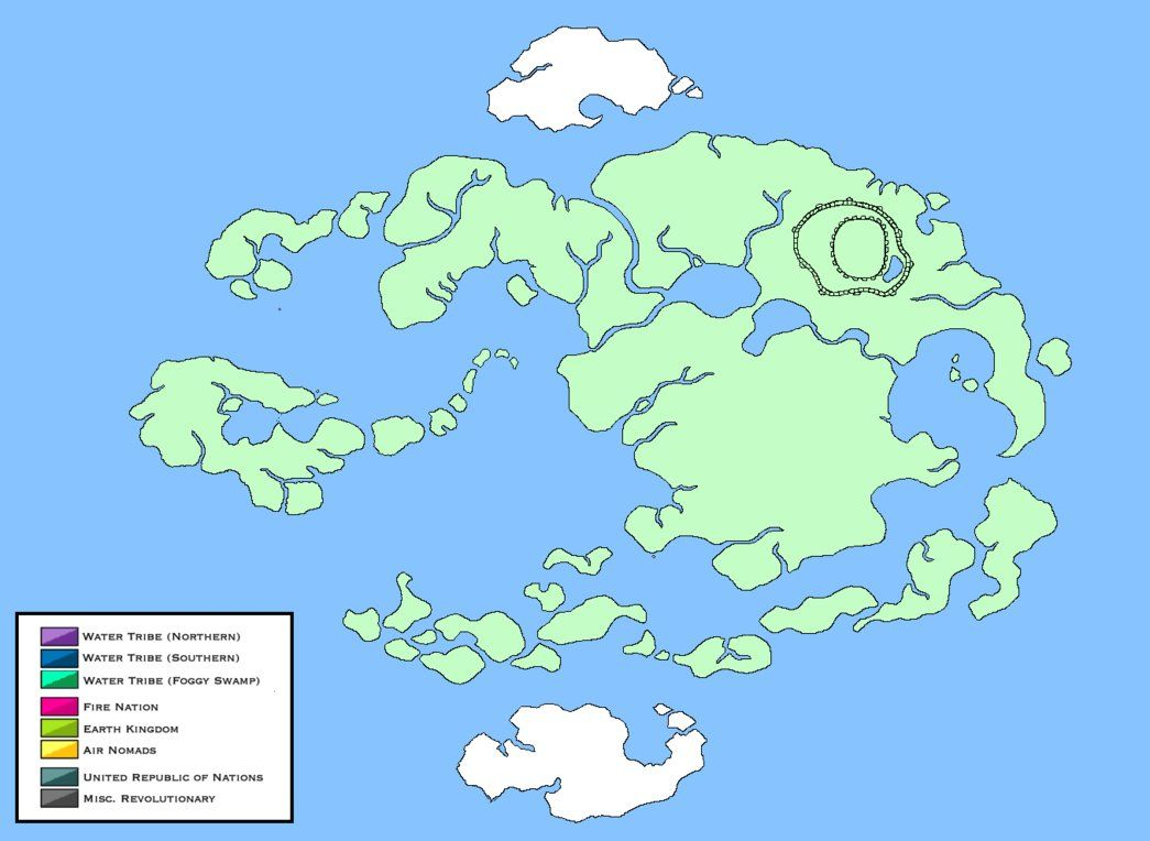 A blank world map template for Avatar The Last Airbender and qu