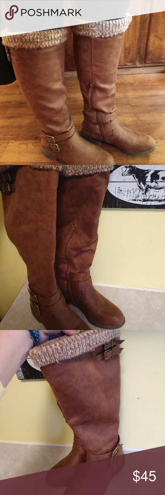 31227a37cd6 Just Fab Boots Faux at the top brown in color comes right to the ...