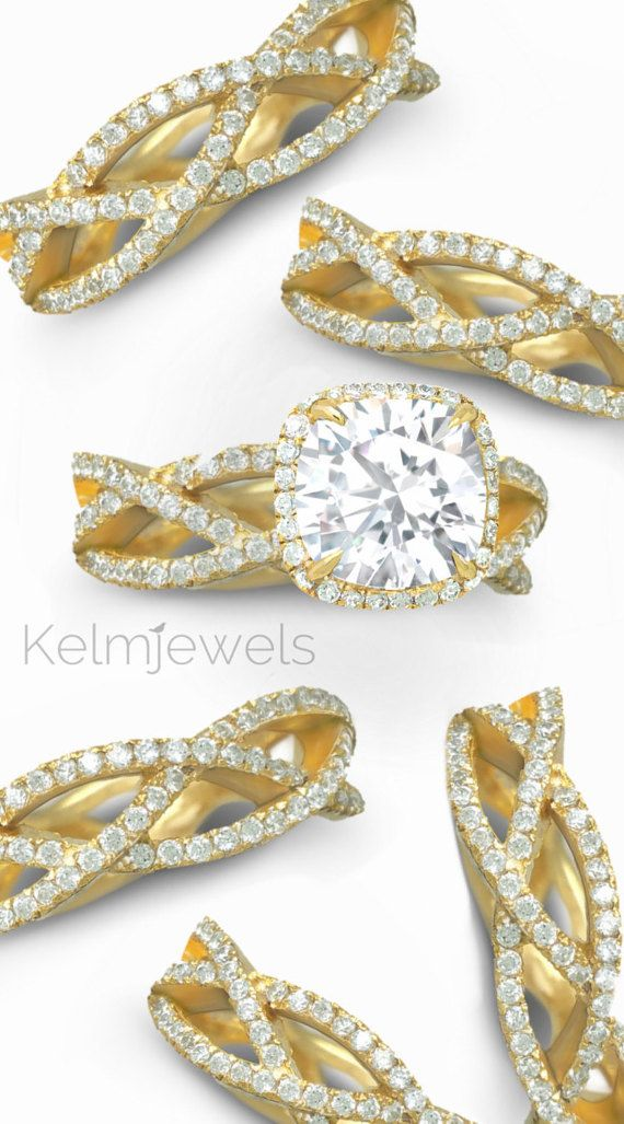 Moissanite and diamond engagement ring. 2 Carat. by Kelmjewels