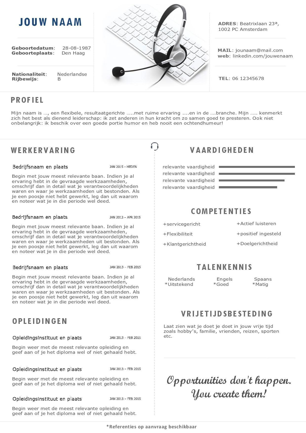 het cv en sollicitatiebrief voor de callcenter branche moderne het cv en sollicitatiebrief voor de callcenter branche