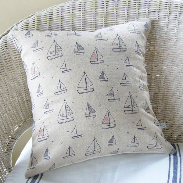 yachts printed linen cushion | Charlotte Macey, England © #yachts #boats #home #linen #cushion #pattern #navy #coast #coastalhome