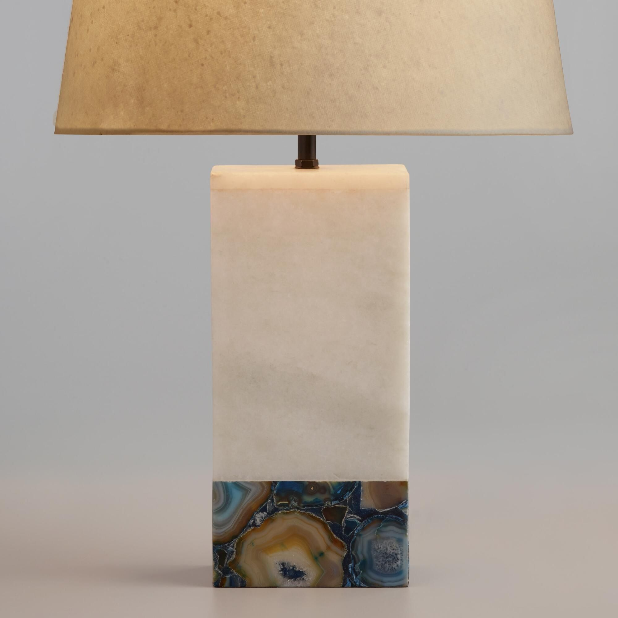World Market Lamp Shades Featuring A White Marble Pedestal Inlaid With Colorful Agate Our