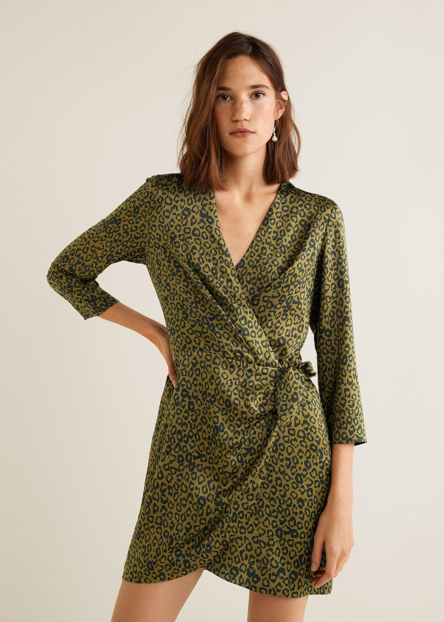 c5bbdfead30b Leopard print wrap dress Print Wrap, Mango France, Wrap Dress, Short Dresses ,