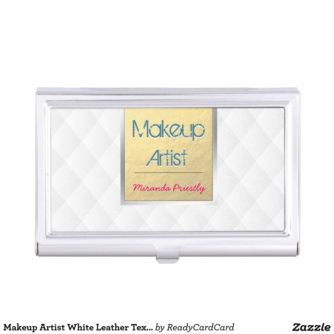 Makeup Artist White Leather Texture Gold Strip Business Card Case