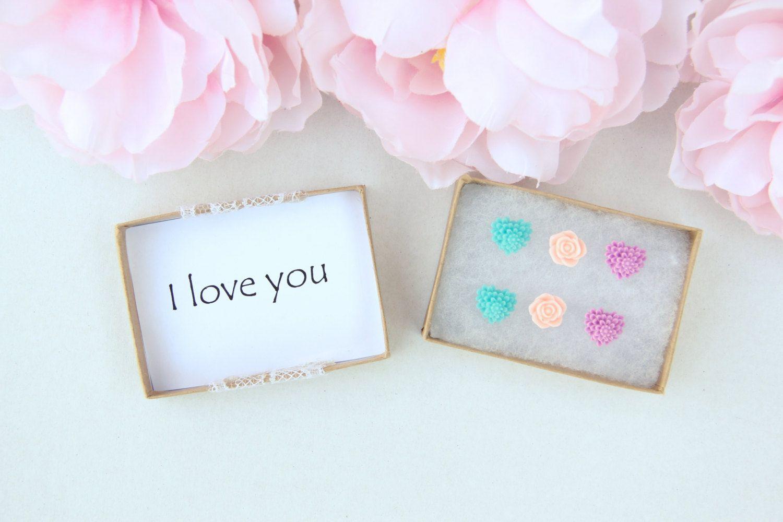 Girls Earrings, I Love You Gift, Heart Earring Set, Flower Studs, Gifts For  Girls, Jewelry Under 20, Little Girl Earrings, Stocking Stuffer