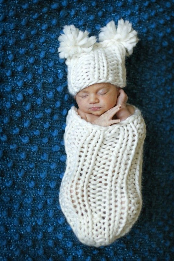 baby cocoon and square hat with pompoms -- you have to make this for ...