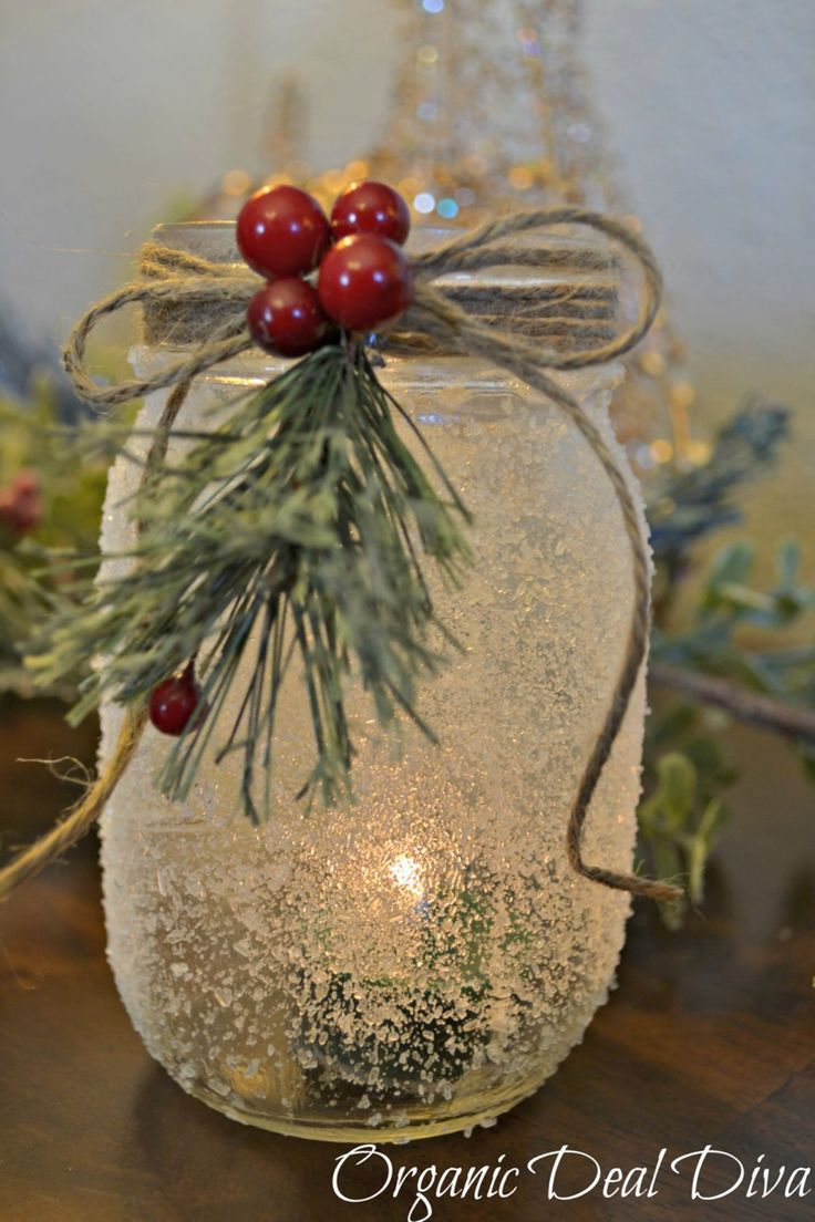 DIY Snow Covered Mason Jar Candle Holders Christmas