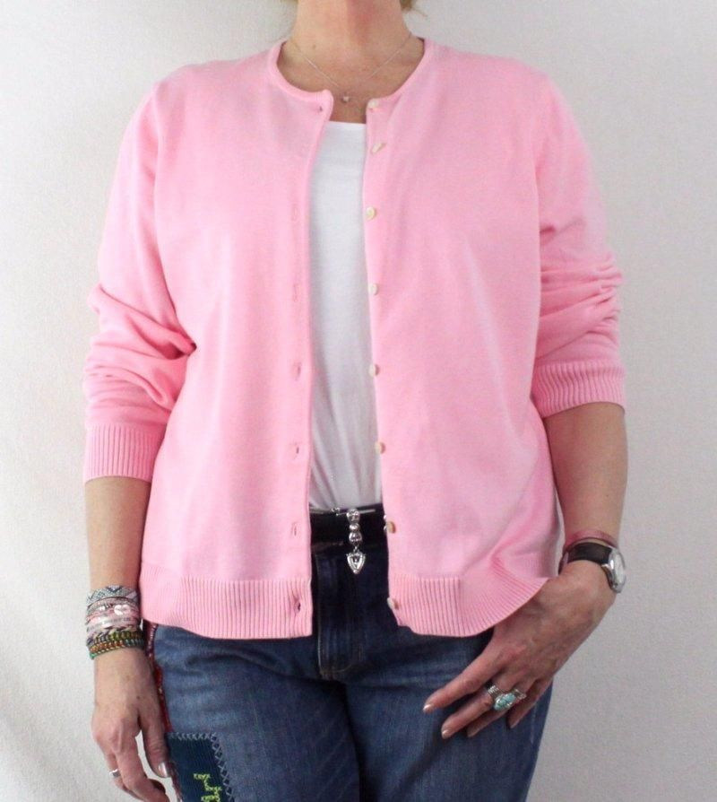Lands End 1x 16w 18w size Pink Cardigan Sweater Womens Cotton Plus ...