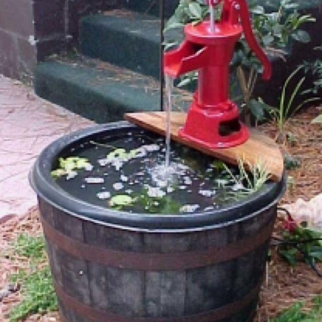 Whiskey barrel water fountain home wasser im garten garten hinterhof teich - Wasserteich im garten ...