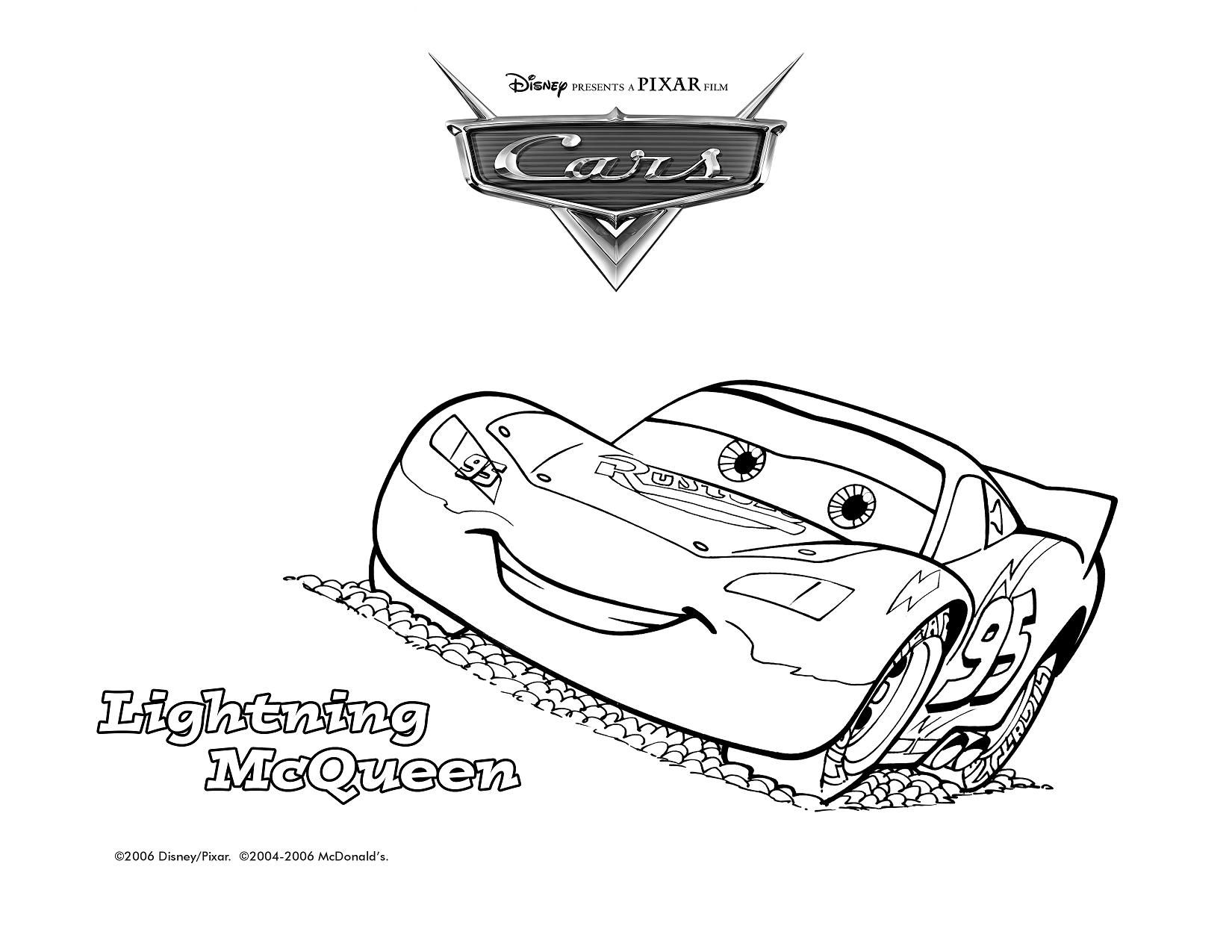 Free coloring page lightning mcqueen - Lightning Mcqueen