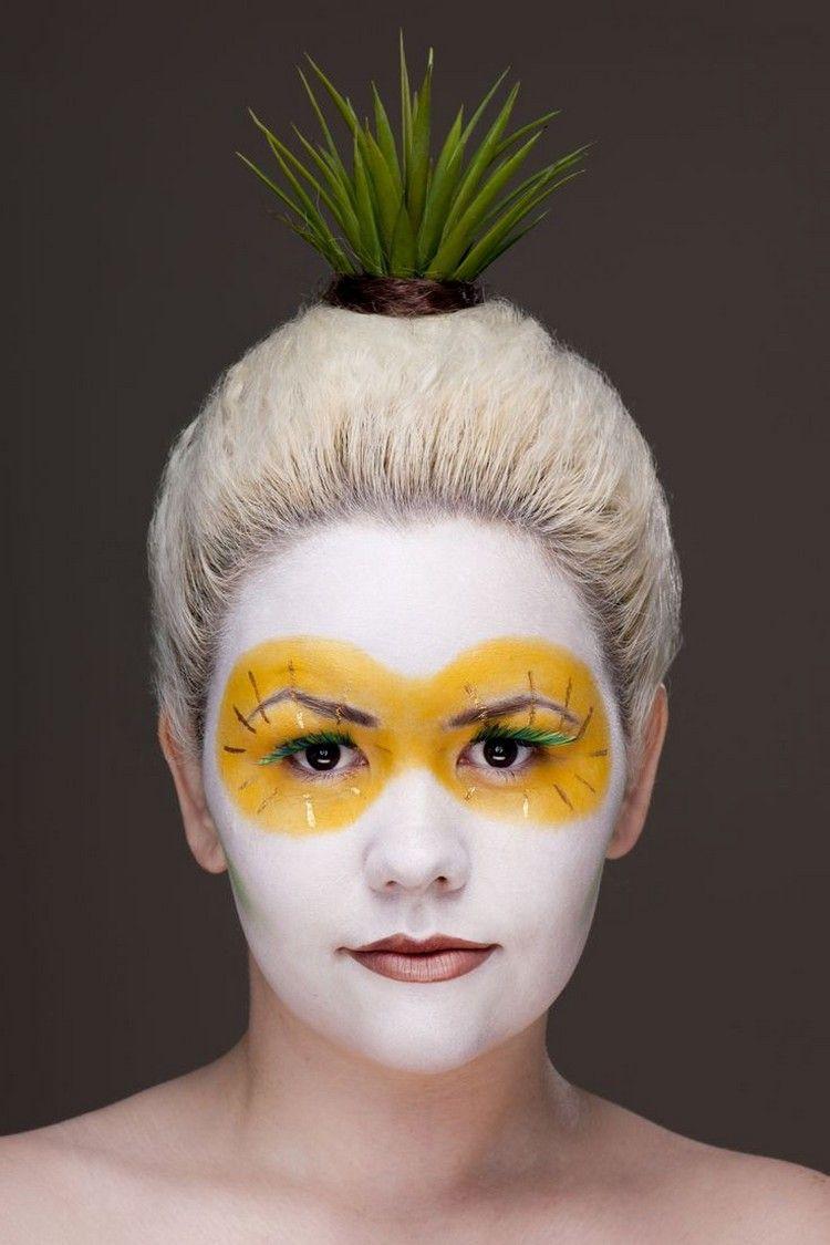 Schminktipps Fasching Ideen Ananas Gruene Wimpern Frisur Pflanze