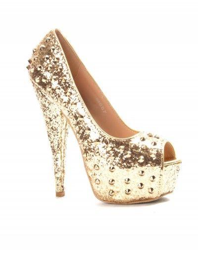 Chaussure femme Sinly: Escarpin pailleté or
