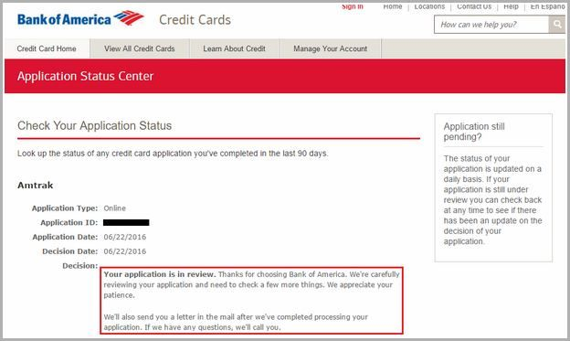 bank of america application status career