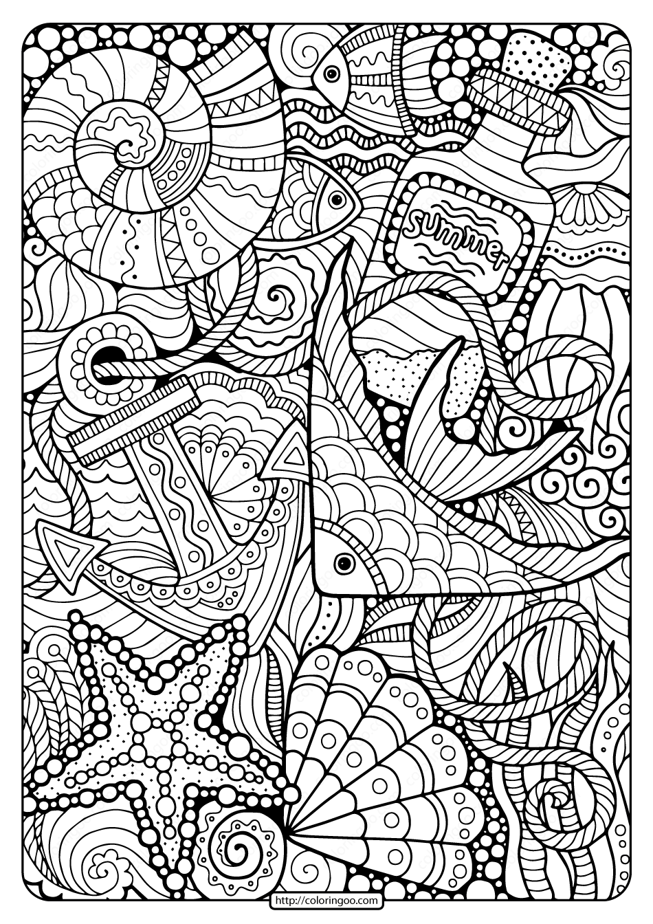 Printable Summer Sea Pdf Coloring Page Summer Coloring Pages Cool Coloring Pages Coloring Books