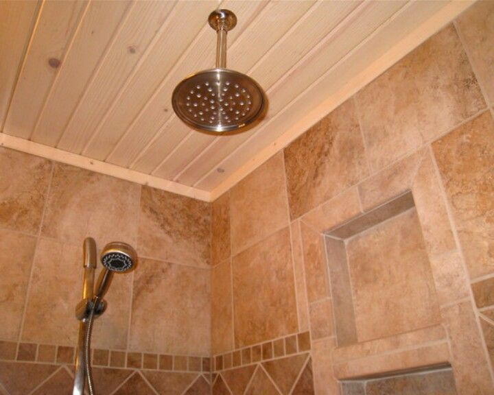 I Like The Breadboard Ceiling Idea Basement Bathroom Remodeling Shower Ceilings Kitchen Built Ins