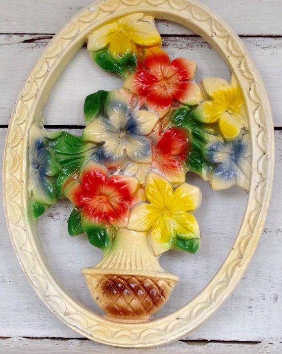Vintage 1940\'s Antique Carnival Chalkware Flower Basket Wall Art or ...