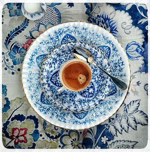 Coffee in blue and white china, would be a very good morning